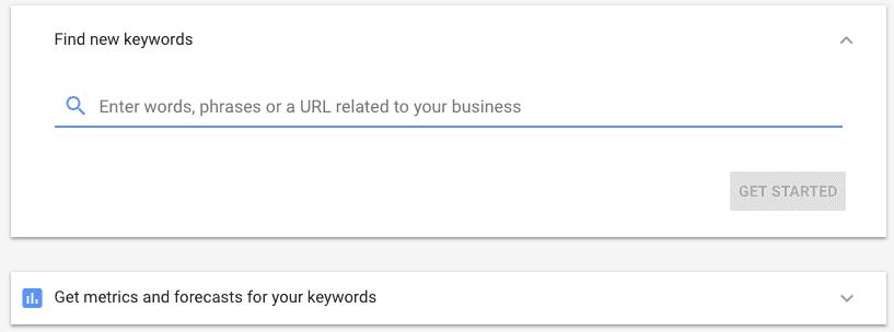 New style Keyword Planner start screen