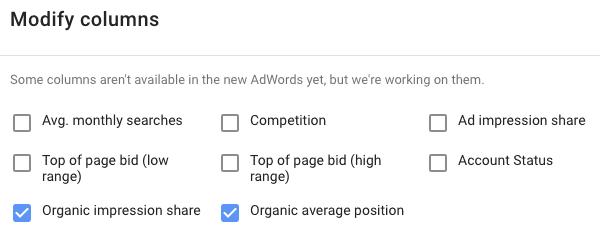New style Keyword Planner new metrics
