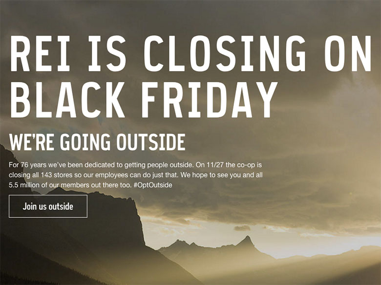 REI closes their stores across Black Friday