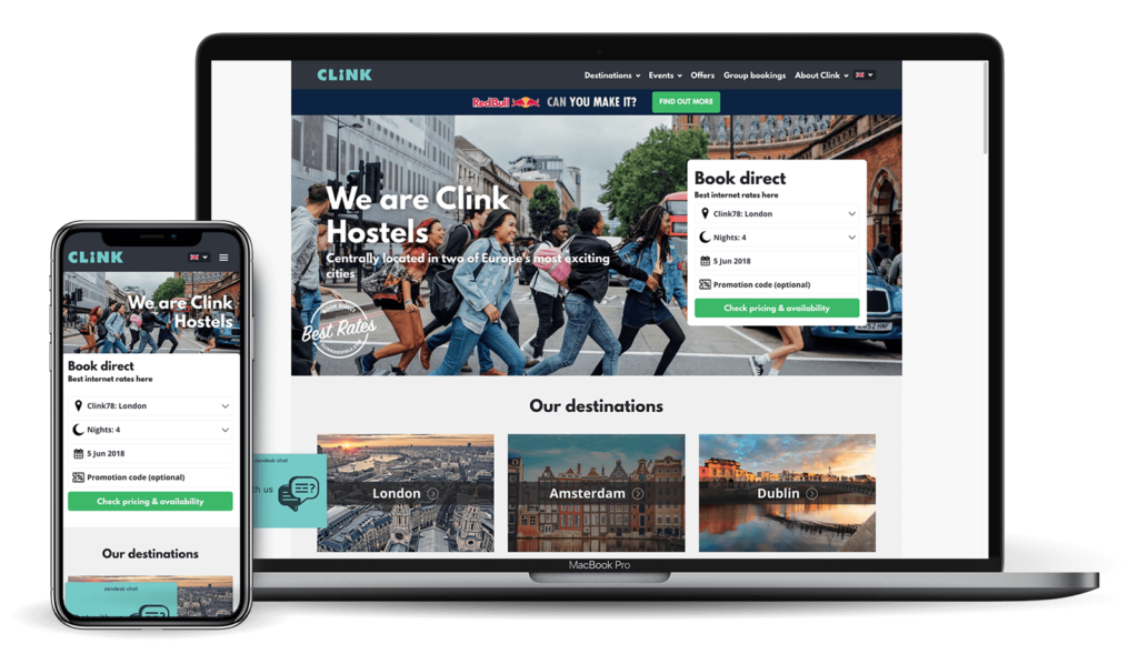 Clink Hostel website on various devices | Kanuka Digital
