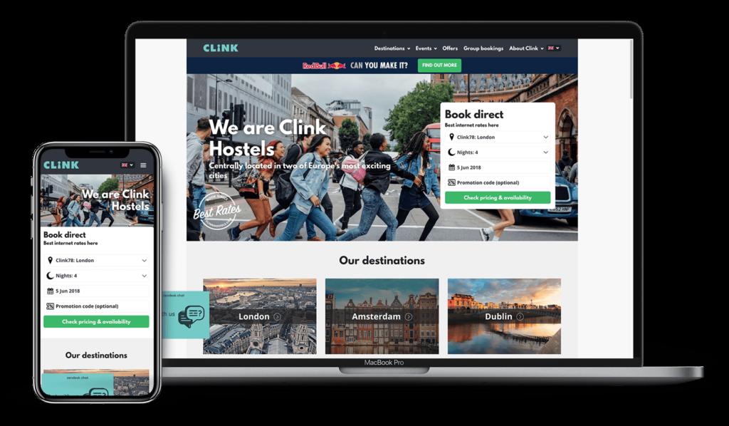 Clink Hostel website on various devices   Kanuka Digital