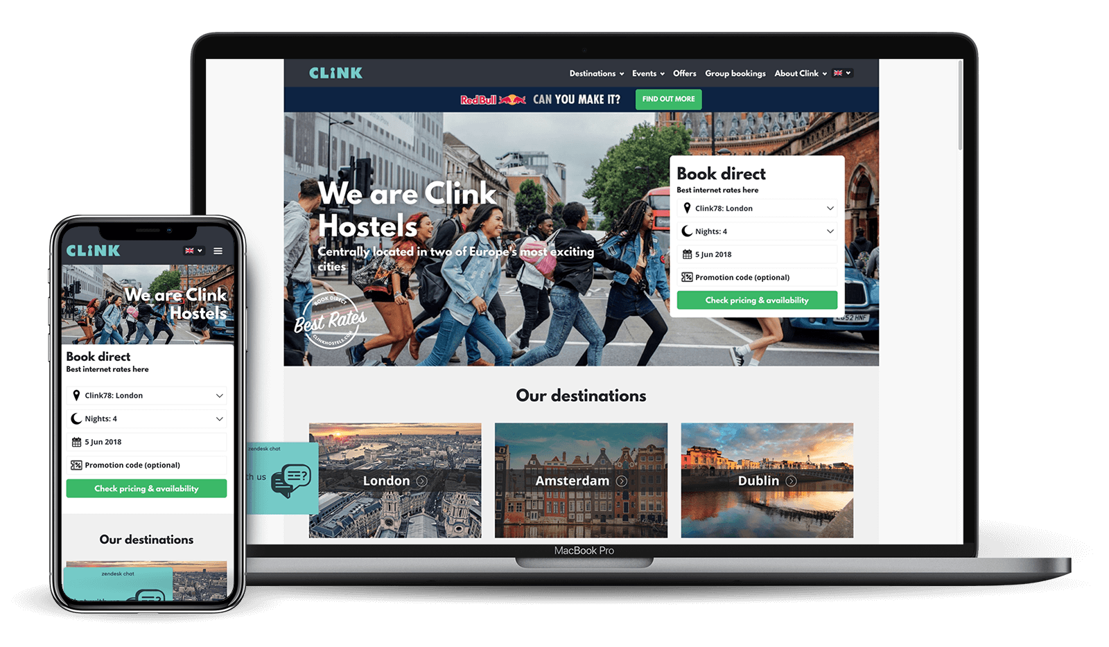 Clink Hostel website on various devices | Kanuka Digital