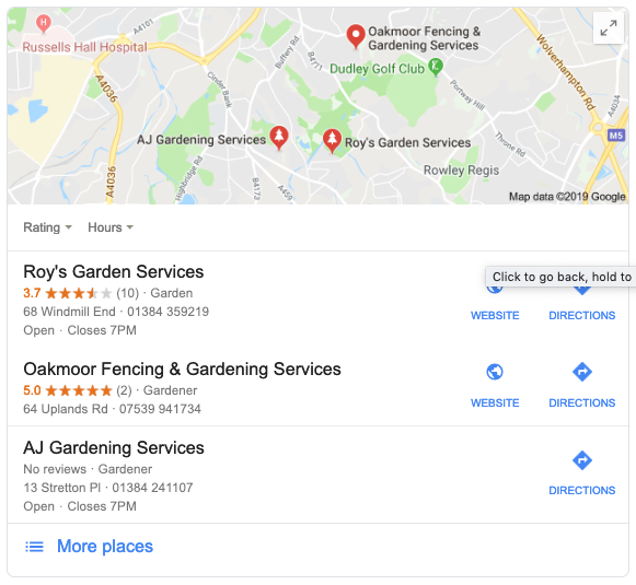 Example of the local SEO pack in Google search results | Local SEO Pack | Kanuka Digital