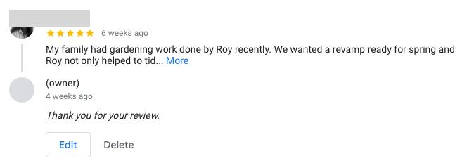Example of a Google customer review   Kanuka Digital