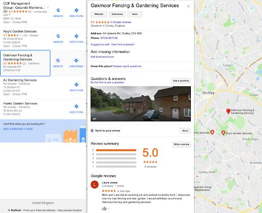 Google Maps Business Results in Google Maps   Kanuka Digital