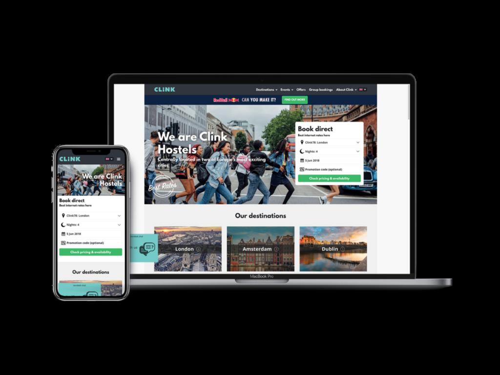 Mobile and Desktop Version of Clink Hostels | Conversion Rate Optimisation | Kanuka Digital