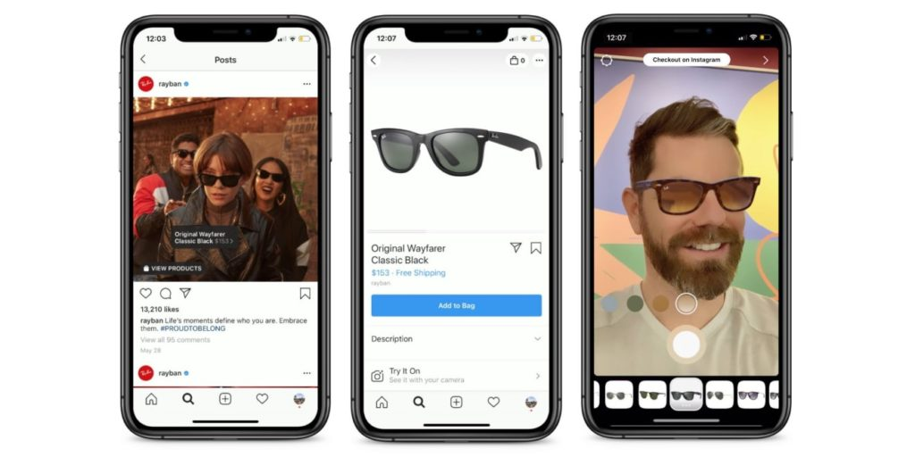Ray Bans AI Instagram shoppable feature for 2020 predicted marketing trends
