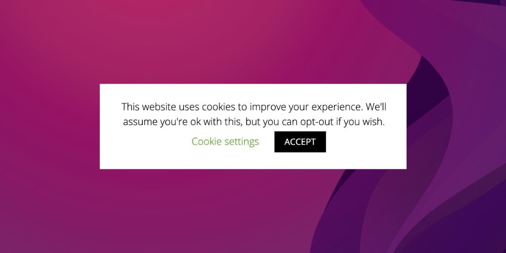 Cookie consent pop up in Room 101 Marketing Edition