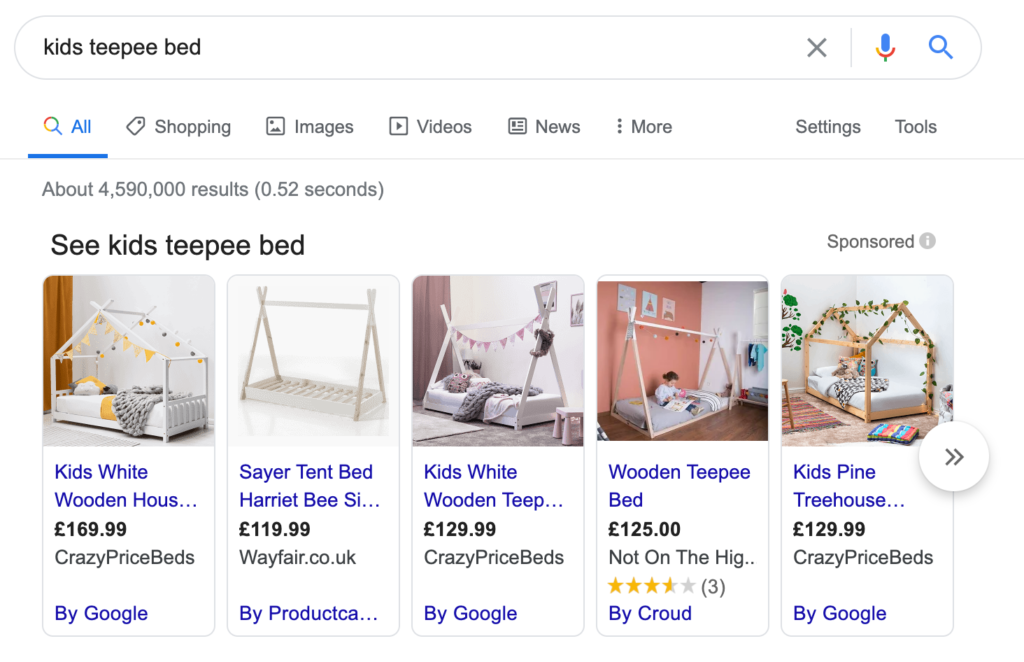 Carousels of product listing ads (PLAs) on the main search results page will continue to consist of ads only.