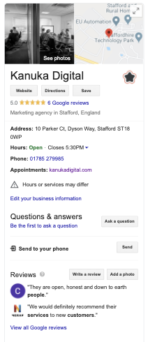 Example of Kanuka Digital Knowledge Panel on Google Search