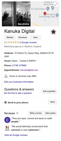 Example of Kanuka Digital Knowledge Panel on Google Search