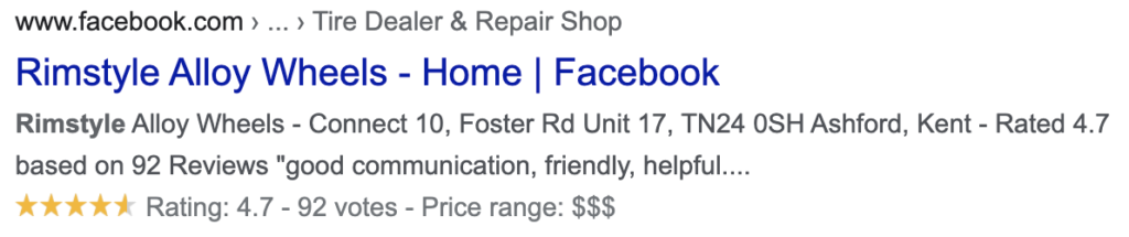 Example of Facebook Star rating on desktop search results.