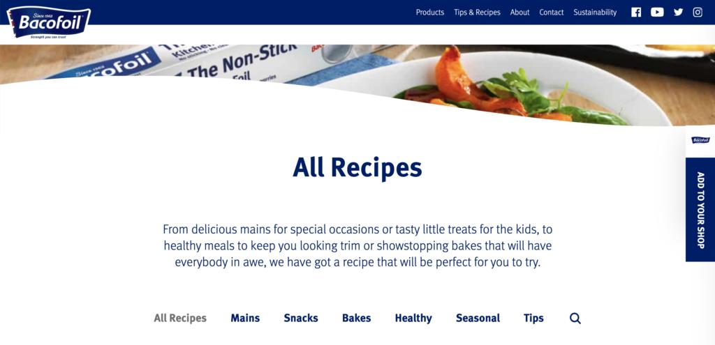 Bacofoil recipes page
