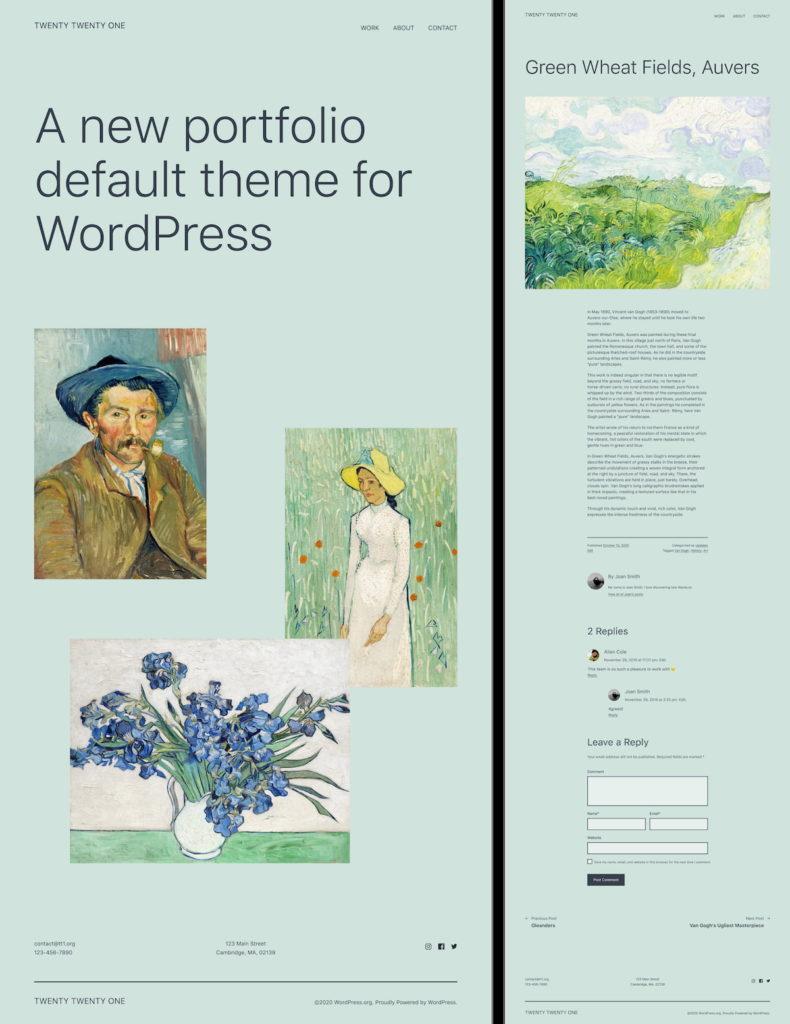 Showing the new WordPress 5.6 release theme layout called Twenty Twenty One.